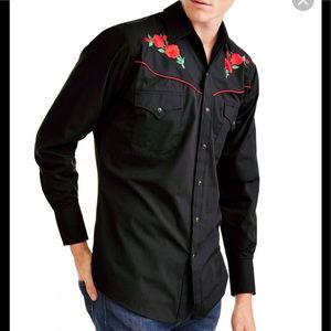 Ely Cattleman western shirt. Embroidered red roses